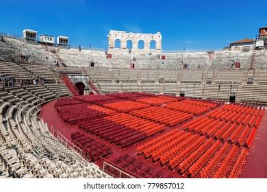 VERONA, ITALY - APRIL 21, 2017: Arena di Verona - ancient Roman amphitheatre in Verona, Italy