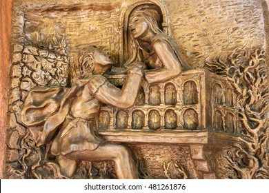 VERONA, ITALY - APRIL 27, 2012 : The bronze artwork of Sergio Pasetto which describes Romeo and Juliet's love story at Tomba di Giulietta (Tomb of Juliet).