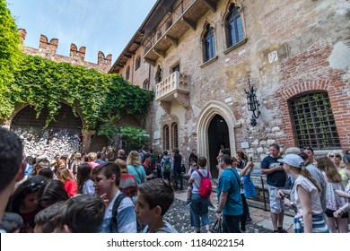Verona, Italy - April 9, 2018: Juliet's Balcony in Verona, from Romeo and Juliet by William Shakespeare.