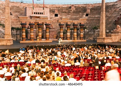 VERONA, ITALY - August 12: people are watching the opening of the opera in the arena of verona August 12,2009, Verona, Italy.