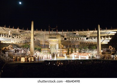 VERONA, ITALY - August 12: people are watching the opera AIDO from Verdi in the arena of verona August 12,2009, Verona, Italy.