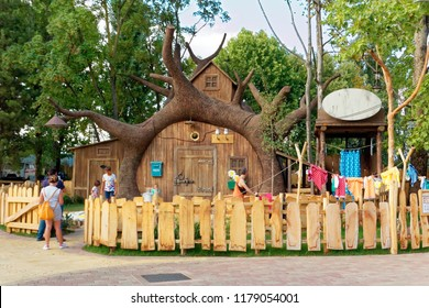 Verona, Italy August 18, 2018: Leoland amusement park. Masha and the Bear. bear house.