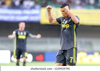 VERONA, ITALY - AUGUST 18,2018: Cristiano Ronaldo celebration to winner during football match serie A League 2018/2019 between ChievoVerona vs Juventus at the Bentegodi Stadium in Verona.
