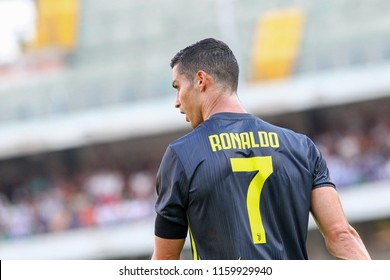 VERONA, ITALY - AUGUST 18,2018: Cristiano Ronaldo during football match serie A League 2018/2019 between ChievoVerona vs Juventus at the Bentegodi Stadium in Verona.