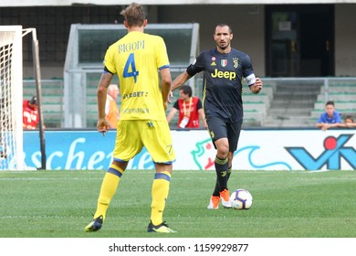 VERONA, ITALY - AUGUST 18,2018: Giorgio Chiellini during football match serie A League 2018/2019 between ChievoVerona vs Juventus at the Bentegodi Stadium in Verona.
