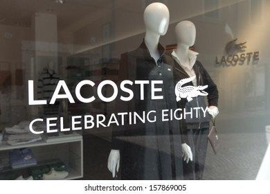 VERONA, ITALY � AUGUST 25: A retail outlet for LACOSTE on August 25, 2013 in Verona, Italy. Lacoste is a French apparel company that sells high-end clothing, most famously tennis shirts.