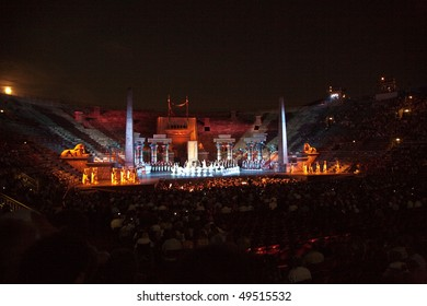 VERONA, ITALY - AUGUST 5: people are waiting for the start of the opera in the arena of Verona August 05, 2009, Verona, Italy.
