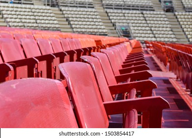 Verona, Italy - CIRCA April 2013: Rows of empty seats in Verona Arena. This building is a Roman amphitheatre that's often used as an opera. The photo has low depth of field so the background is blurry