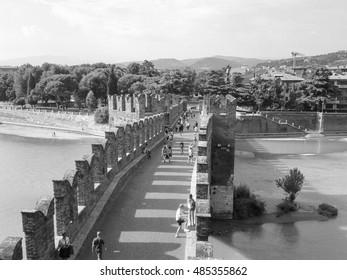 VERONA, ITALY - CIRCA JULY 2016: Black and white Ponte di Castelvecchio (meaning Old Castle Bridge) aka Ponte Scaligero (meaning Scaliger Bridge)