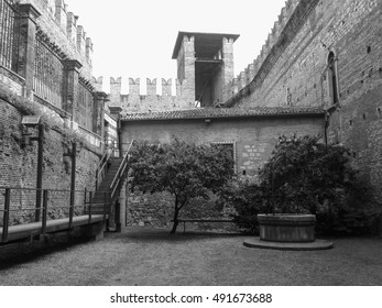 VERONA, ITALY - CIRCA JULY 2016: Black and white Castelvecchio museum designed by architect Carlo Scarpa in Castelvecchio castle