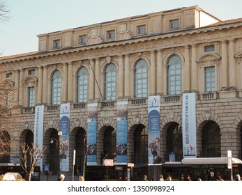 VERONA, ITALY - CIRCA MARCH 2019: Palazzo della Gran Guardia palace hosts the World Congress of Families XIII
