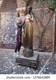 VERONA, ITALY - CIRCA MARCH 2019: Statue of Juliet Capulet (Giulietta Capuleti) made famous by William Shakespeare love tragedy Romeo and Juliet