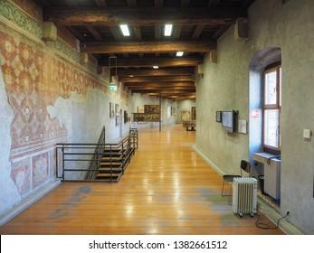 VERONA, ITALY - CIRCA MARCH 2019: Castelvecchio museum designed by architect Carlo Scarpa in Castelvecchio castle
