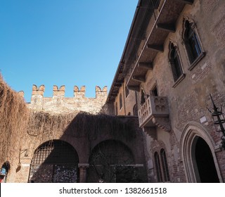 VERONA, ITALY - CIRCA MARCH 2019: House of Juliet Capulet (Giulietta Capuleti) with balcony made famous by William Shakespeare love tragedy Romeo and Juliet