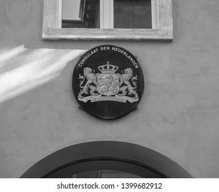 VERONA, ITALY - CIRCA MARCH 2019: Netherlands consulate in black and white