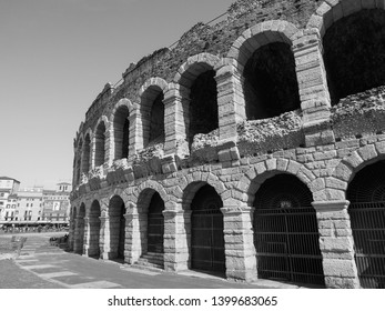 VERONA, ITALY - CIRCA MARCH 2019: Arena di Verona roman amphitheatre in black and white