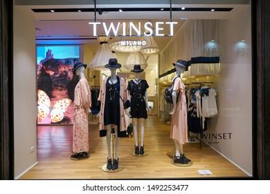 VERONA, ITALY - CIRCA MAY, 2019: display window of a Twinset shop in Verona.