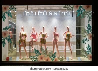 VERONA, ITALY - CIRCA MAY, 2019: display window of Intimissimi shop in Verona.
