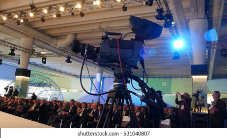 VERONA, ITALY - CIRCA NOVEMBER 2016: professional broadcast video cameras in a conference room during a meeting.