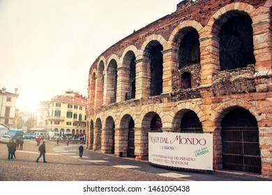 VERONA, ITALY - DECEMBER 16, 2018:  - The Verona Arena (Arena di Verona) is a Roman amphitheatre located in Piazza Bra.