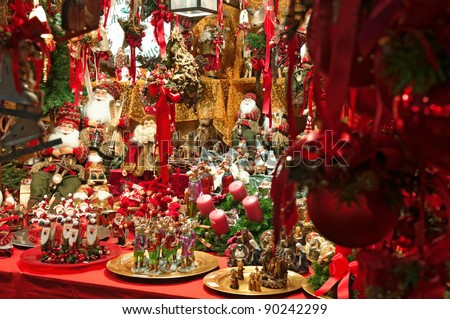 verona italy december 3 christmas market stall with many christmas decorations on december
