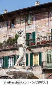 Verona, Italy - Erbe Square - Fountain detail and frescos