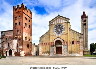 Verona, Italy - Facade and bell tower of the Church of San Zeno.