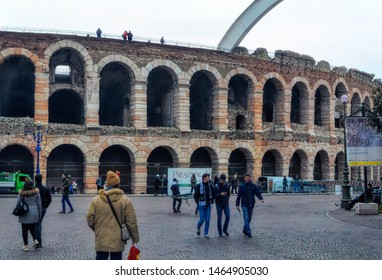 VERONA, ITALY, January 05 2018: Arena an old Roman Coloseum, a popular place for tourists sightseeing in Verona, Italy.