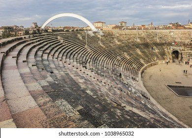 VERONA, ITALY - JANUARY 07, 2018: La Stella Cometa dell'Arena at Christmas time - the steel comet star (70 meters high) that comes out of the arc of the Verona Arena (Arena di Verona) at Piazza Bra.