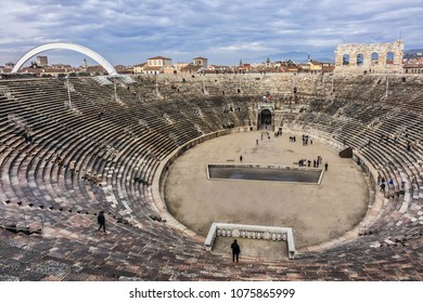 VERONA, ITALY - JANUARY 07, 2018: View of Verona Arena (Arena di Verona) - Roman amphitheatre at Piazza Bra. Verona Arena built in the 1 AD, is the third largest amphitheatre in Italy.