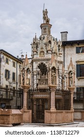 VERONA, ITALY - JANUARY 07, 2018: Scaliger tombs (Arche Scaligeri) - group of five gothic funerary monuments celebrating the Scaliger family (who ruled in Verona XIII – XIV century) in Verona, Italy.