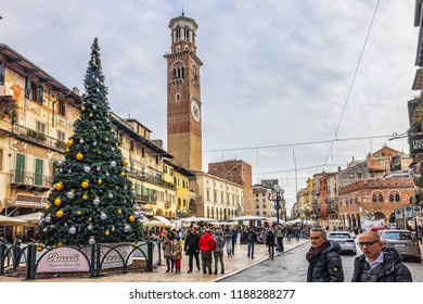 VERONA, ITALY - JANUARY 07, 2018: Verona Market's square (Piazza delle Erbe) with Christmas and New Year decoration. Piazza delle Erbe - old Roman forum, square hosts a busy and picturesque market.