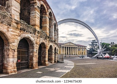VERONA, ITALY - JANUARY 07, 2018: View Verona main square - Piazza Bra. Piazza Bra - the largest square in Verona.