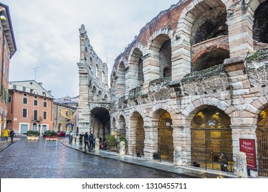 VERONA, ITALY - JANUARY 07, 2018: View Verona main square - Piazza Bra at sunset. Piazza Bra - the largest square in Verona.