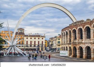 VERONA, ITALY - JANUARY 07, 2018: Third largest amphitheater in Italy - Verona Arena (Arena di Verona), Roman amphitheater at Piazza Bra. Verona Arena built in 1 AD.
