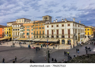 VERONA, ITALY - JANUARY 07, 2018: View over Verona main square - Piazza Bra from the Verona Arena (Arena di Verona). The piazza Bra is lined with numerous cafes and restaurants.