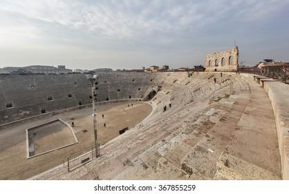 VERONA, ITALY - JANUARY 24, 2015: Interior of the arena in Verona