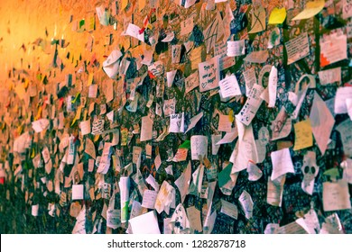 Verona - Italy. January 6, 2019: Part of the wall covered with love messages in Juliet house (Casa di Giulietta). Verona, Italy