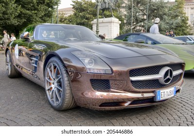 VERONA, ITALY - JULY 11: Mercedes SLS on July 11, 2014 in Verona, Italy. Part of a display of Pagani, Lamborghini, Mercedes, Porsche and Ford Supercars in Piazza Bra.