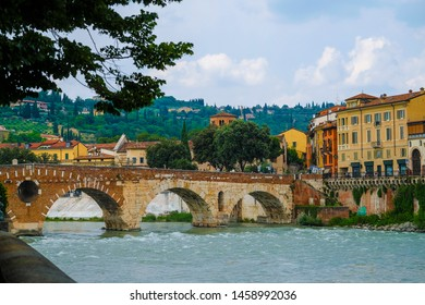 Verona, Italy - July, 17. 2019: embankment of Verona, Italy
