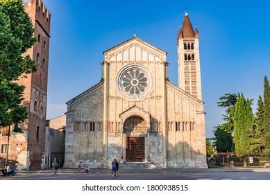 VERONA, ITALY - JULY 2, 2019: The Basilica di San Zeno (also known as San Zeno Maggiore or San Zenone) is a minor basilica of Verona, Northern Italy.