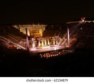VERONA, ITALY - JULY 22: Performance of opera Aida in the ancient roman amphitheater on July 22, 2009 in Verona, Italy.