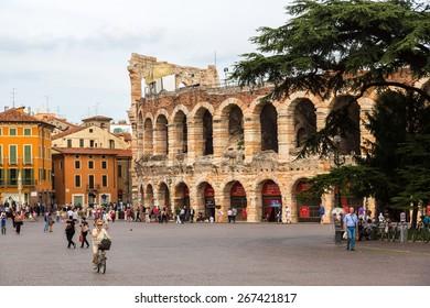 VERONA, ITALY - JULY 25: Verona Arena in a beautiful summer day in Verona, Italy (Arena di Verona) on July 25, 2014