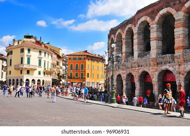 VERONA - ITALY JUNE 11: Piazza Bra, often shortened to Bra, is the largest piazza in Verona, Italy, with some claims that it is the largest in the country on June 11 2011, Verona, Italy