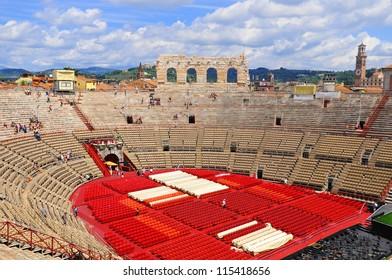 VERONA, ITALY - JUNE 11: Preparation for opera show in the arena of Verona on June 11, 2011 in Verona, Italy.The Verona Arena is a Roman amphitheatre in Piazza Bra.