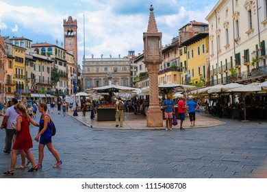 Verona, Italy - June, 16, 2018: image of the central square of Verona with a street market