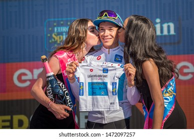 Verona, Italy June 2, 2019: Miguel Ángel López, Astana Team, in white jersey celebrates on the stage of the Arena of Verona the victory of young classification of the Tour of Italy 2019.