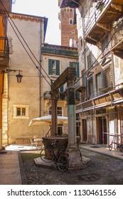 Verona, Italy - June 21, 2018: Patio of medieval building of Mazzanti on the Piazza delle Erbe in Verona