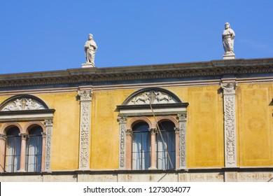 Verona, Italy - June 21, 2018: La Loggia del Consiglio on the Piazza dei Signori (The Palace of the Council) in Verona