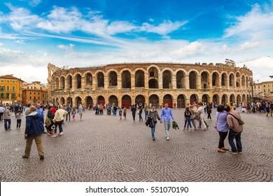 VERONA, ITALY - JUNE 23, 2016: The Verona Arena - Roman amphitheatre in Verona in a beautiful summer day, Italy on June 23, 2016